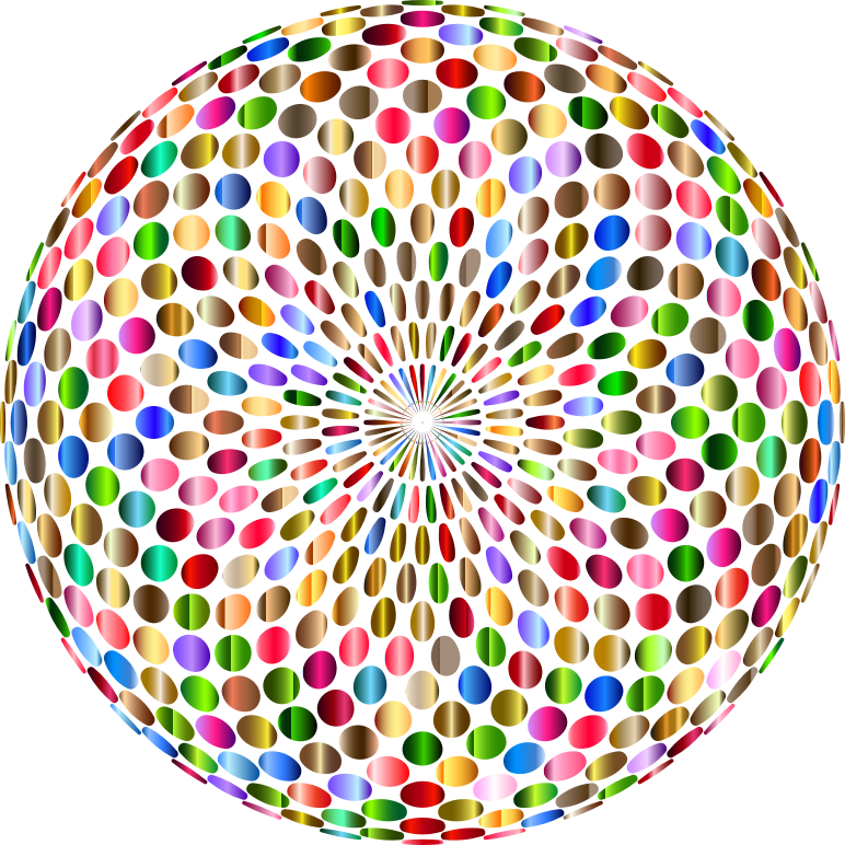 Clipart - Psychedelic Chromatic Disco Ball No Background