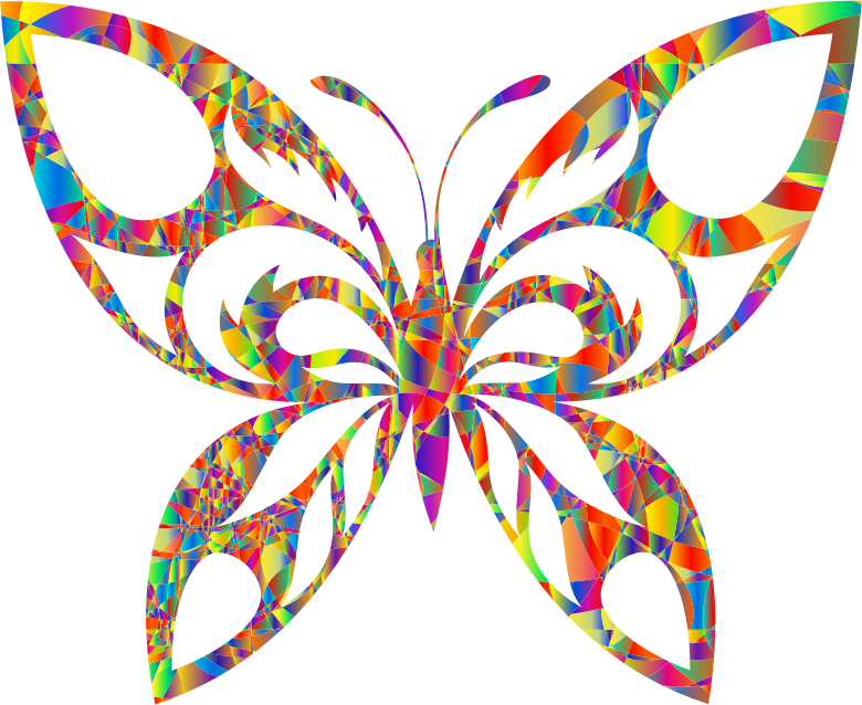 Clipart - Polyprismatic Magma Tribal Butterfly Silhouette