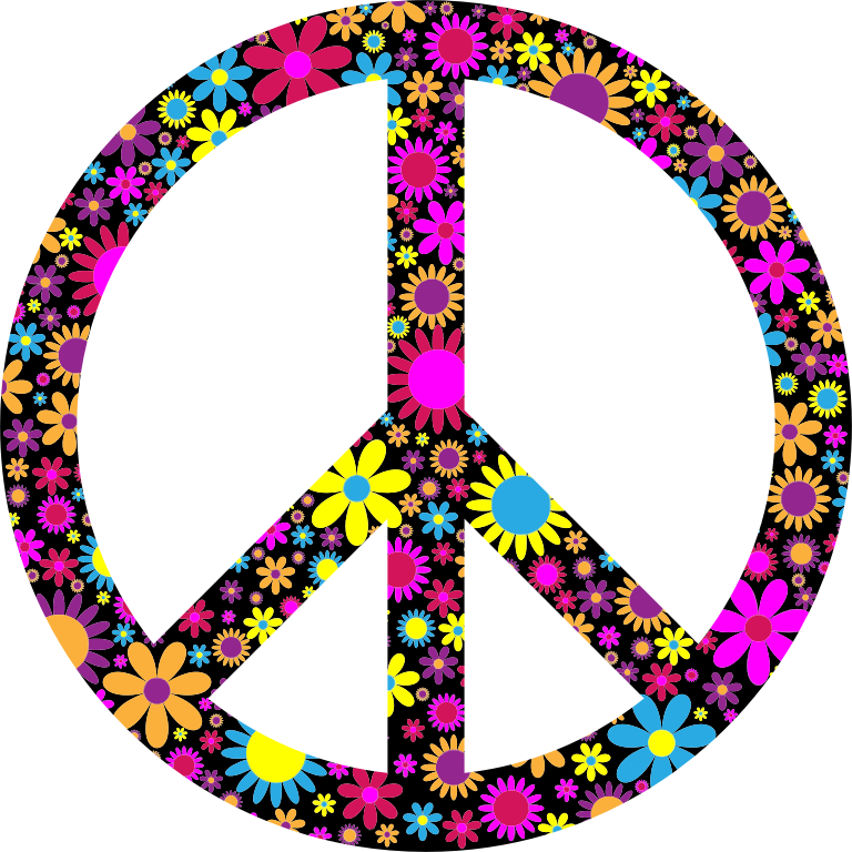 Clipart - Floral Peace Sign