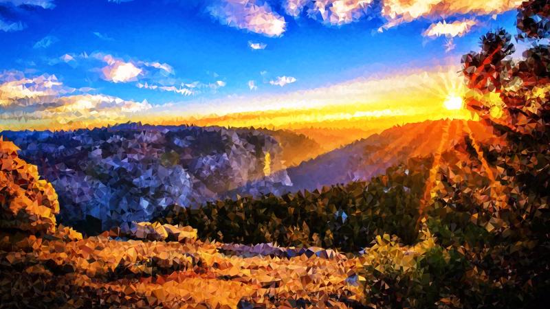 Clipart - Medium Poly Mountain Sunrise