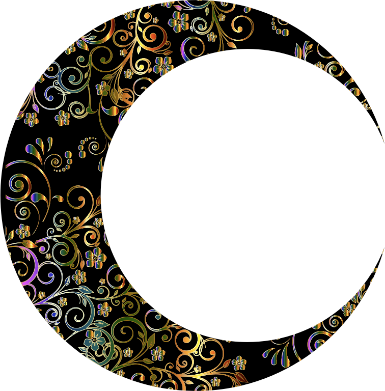 Clipart - Gold Floral Crescent Moon Mark II 10: https://openclipart.org/detail/251354/gold-floral-crescent-moon...