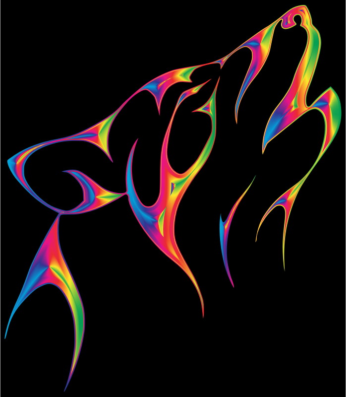 Clipart - Flame Tribal Wolf