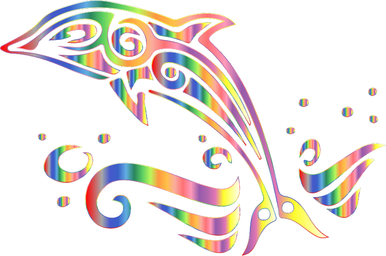 Clipart - Chromatic Tribal Dolphin 6 No Background