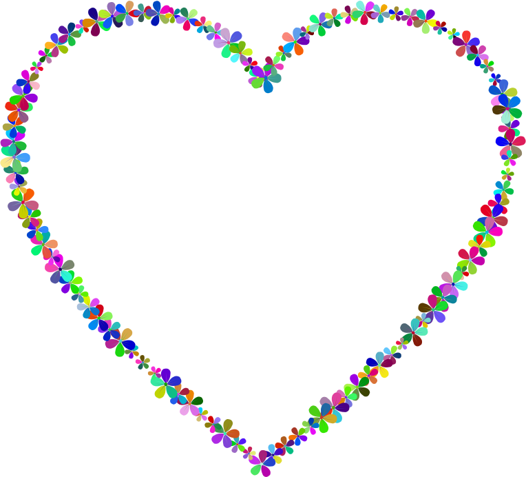 Clipart Prismatic Floral Heart Outline