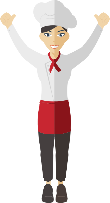 Clipart - Flat Shaded Female Chef 3