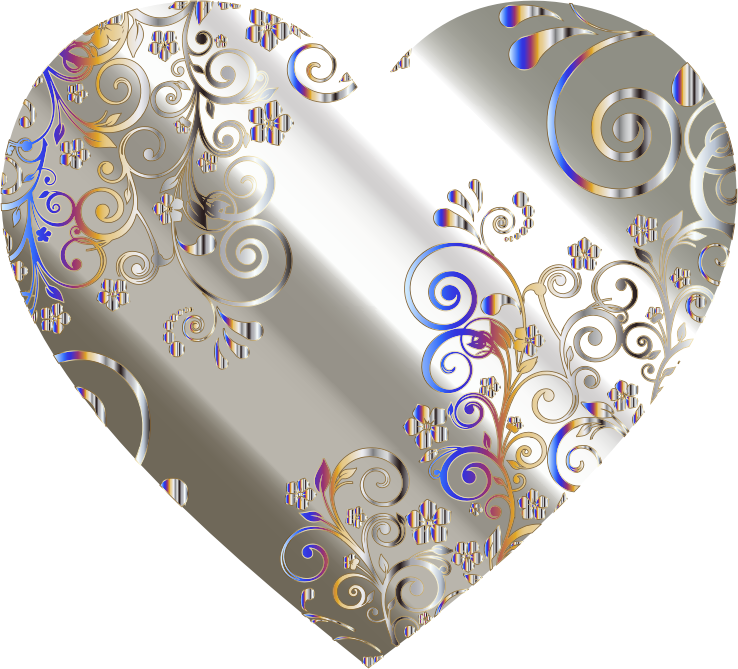 Clipart - Prismatic Floral Flourish Heart 8