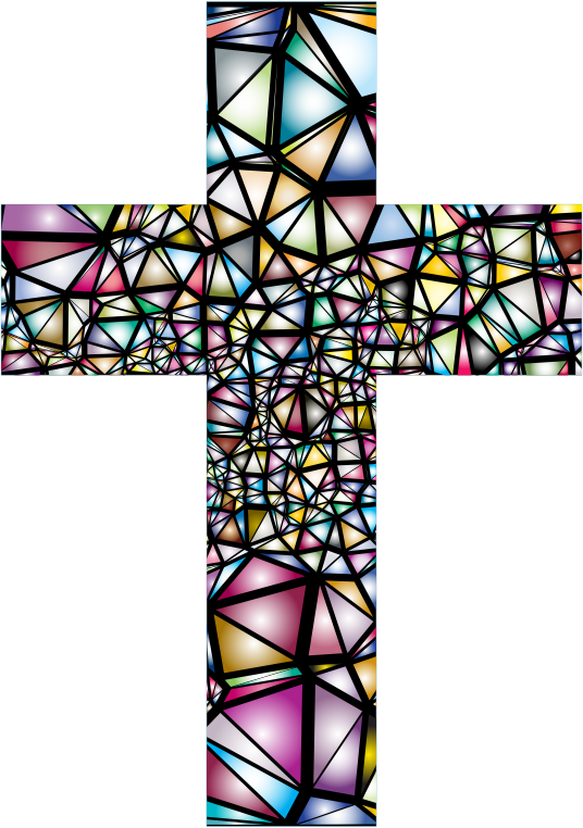 Clipart - Low Poly Stained Glass Cross 2