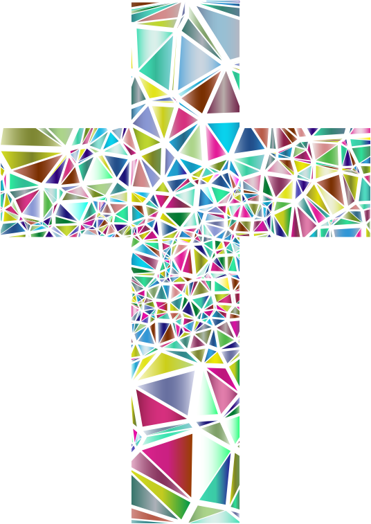 Clipart - Low Poly Stained Glass Cross 3 No Background