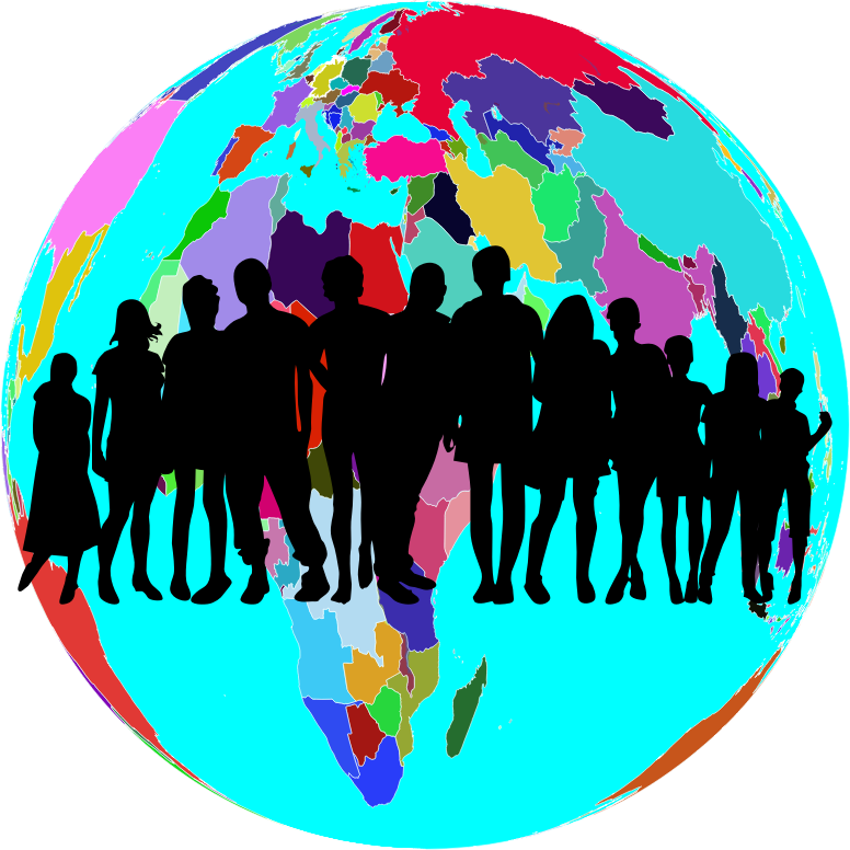 Clipart Colorful World Globe Human Family