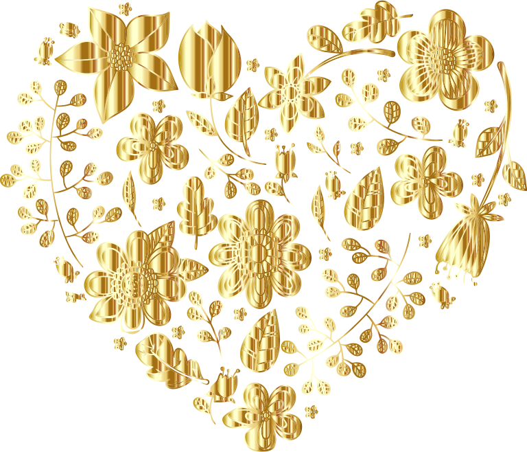 clipart   gold floral heart no background