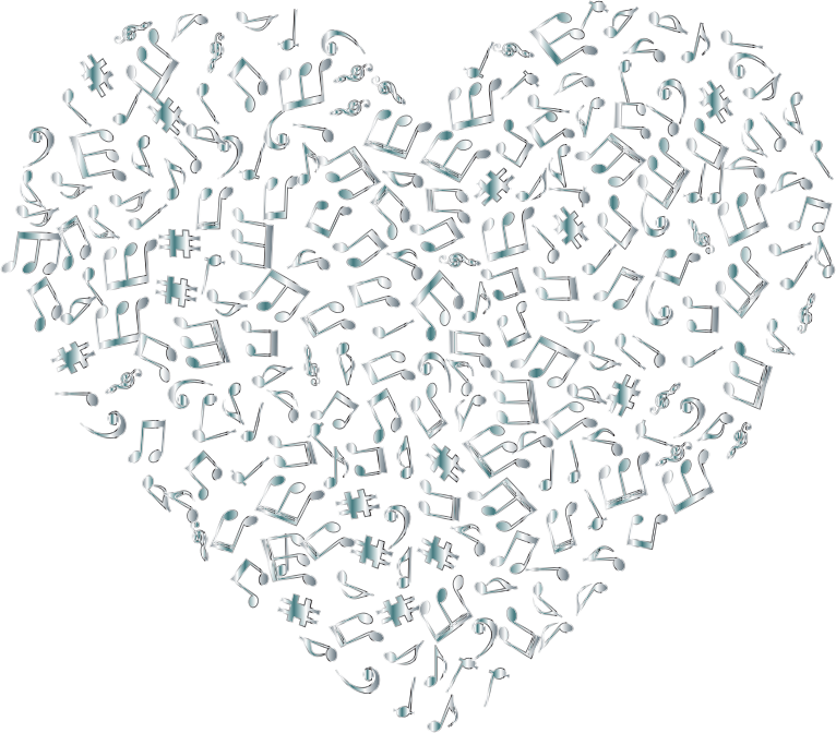 Clipart - Silver Musical Heart 4 No Background