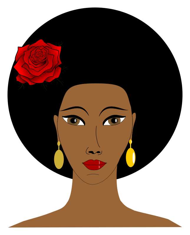 Black Woman With A Rose on Queen Clip Art