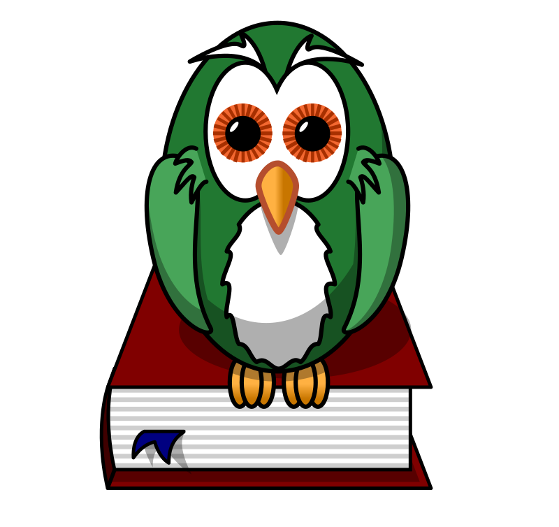 Clipart - Green owl sitting on a book
