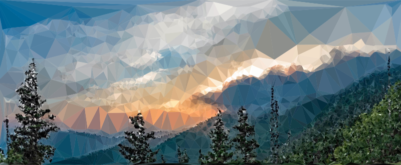 Clipart - Low Poly Misty Mountains