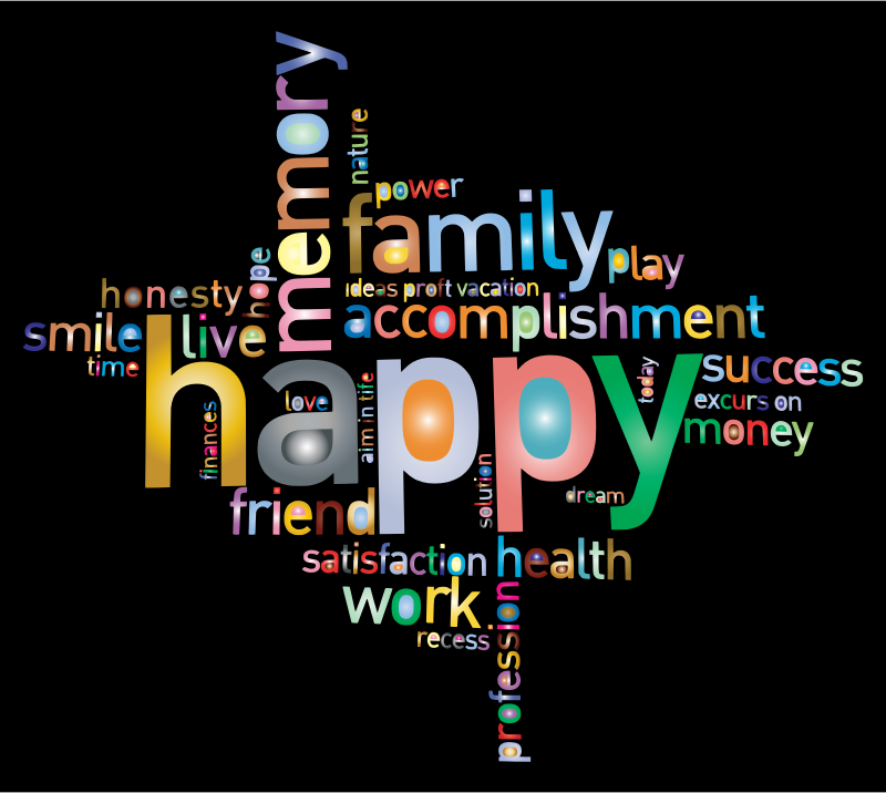 Clipart Prismatic Happy Family Word Cloud 2