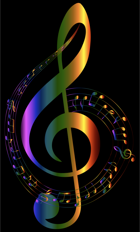 Clipart - Chromatic Musical Notes Typography