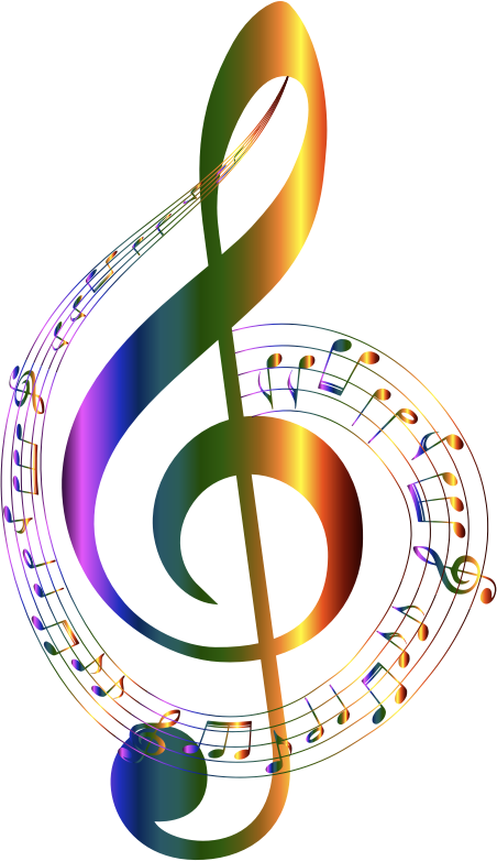 Clipart - Chromatic Musical Notes Typography No Background