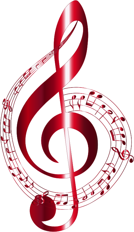 Clipart - Vermilion Musical Notes Typography No Background