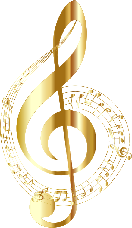 Gold Musical Notes Typography No Background on Artistic Alphabet Letters