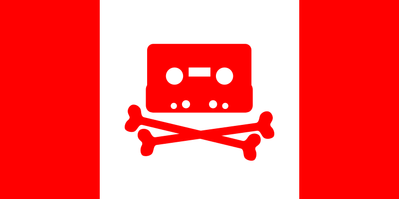 "Canadian Music Pirate Flag by dandin1 - Based on my svg version of the piratbyran logo which is based on pb-kit.ps obtained from piratbyran.org, which is in turn based on the logo of the BPI's ""Home Taping Is Killing Music"" campaign."