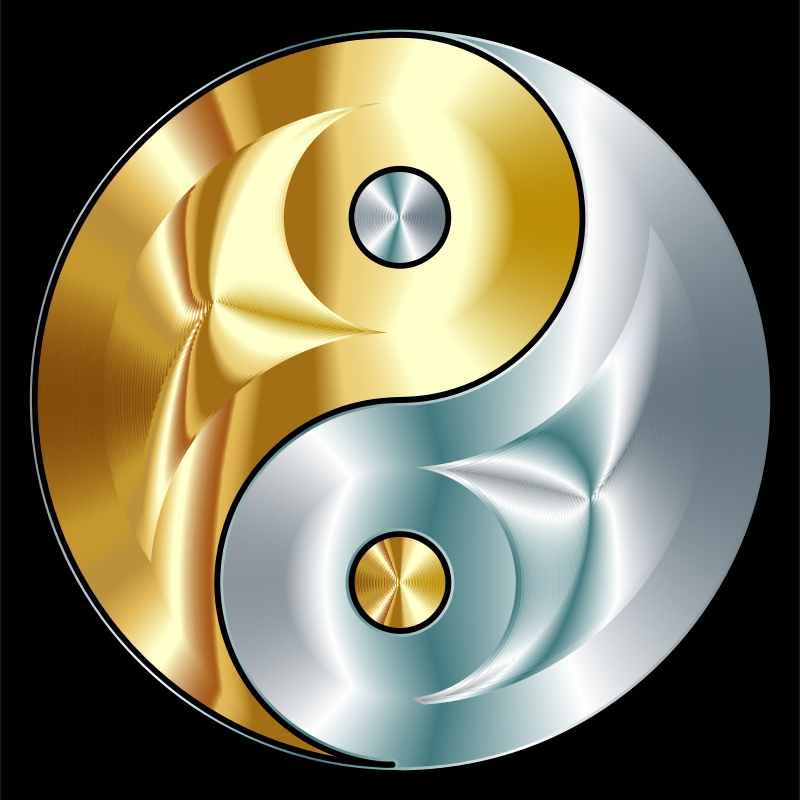 Clipart - Gold And Silver Yin Yang