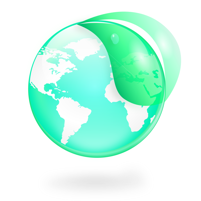 Environmental / Eco Globe & Leaf Icon by kendraschaefer - An Inkscape-created globe icon with a surrounding leaf. Has a very environmental feel to it.
