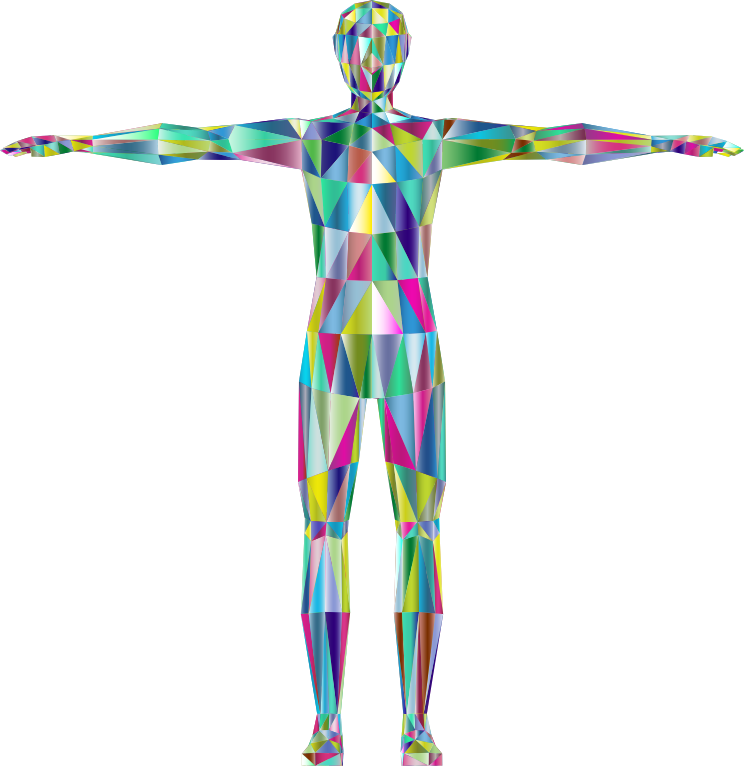 Clipart - Prismatic Low Poly Human Male Variation 2