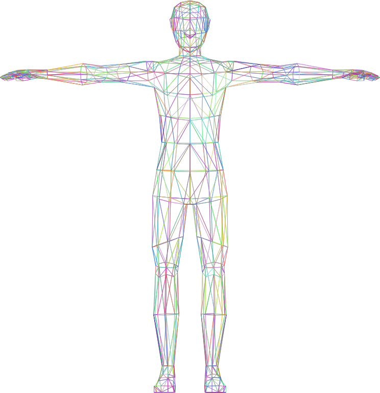 Clipart - Prismatic Low Poly Human Male Wireframe No