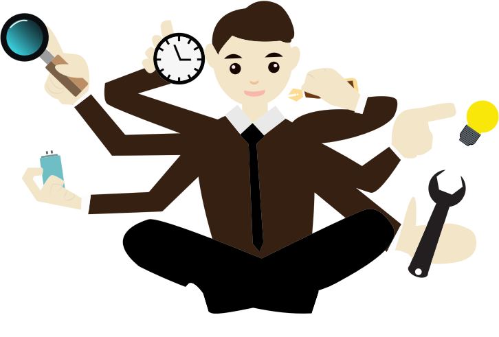 Clipart - Multitasking Cartoon Man