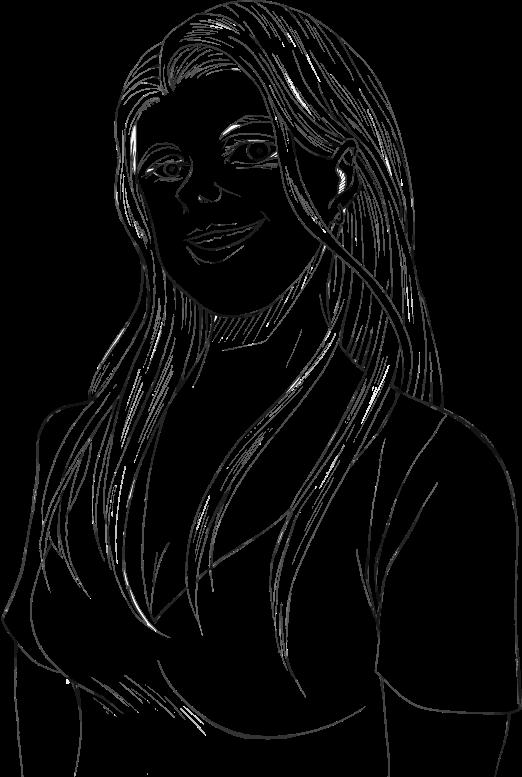 Line Art Woman : Clipart smiling woman line art