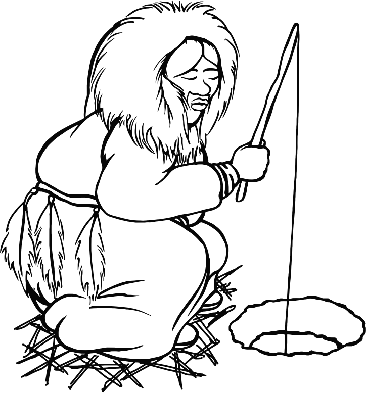 Clipart - Eskimo Man Fishing Line Art