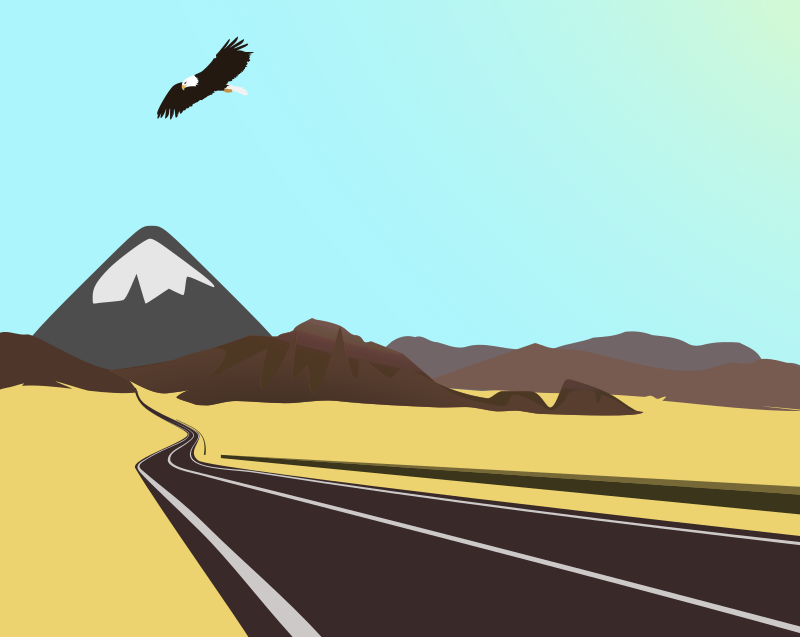 Drive Freely! by boobaloo - some kind of desert inkscape-landscape.