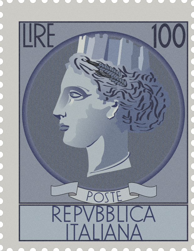 Postage St  Italia Turrita on love stamp