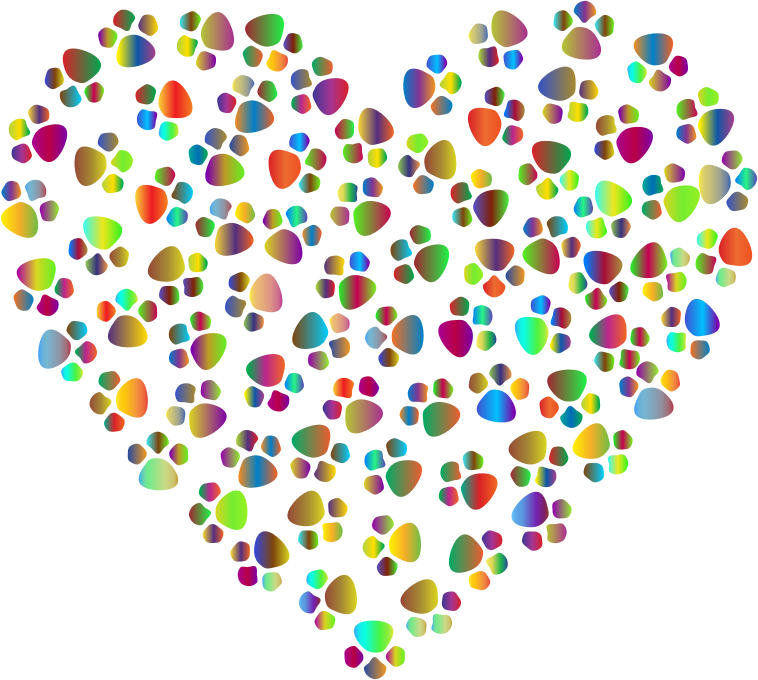 clipart prismatic paw prints heart 4 Dog Paw Print Clip Art Dog Paw Print Clip Art