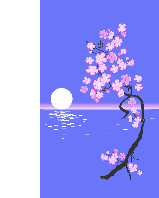 sakura by maxim2 - A sakura with the ocean and the moon.