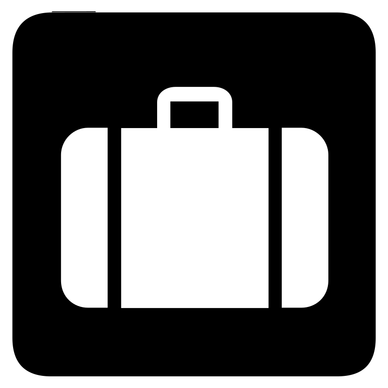 aiga baggage check in bg by jean_victor_balin - Set of international airport symbols. Source: http://www.aiga.org/content.cfm/symbol-signs Converted to SVG by Jean-Victor Balin.