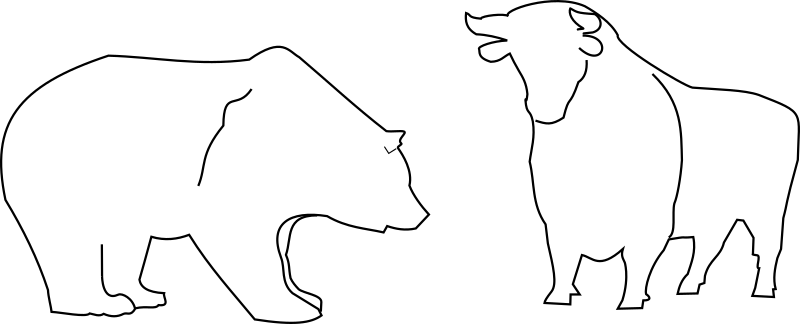 Bull and Bear by Tavin - the silhouette of a bull and a bear. Often used as a symbol for the stock exchange.