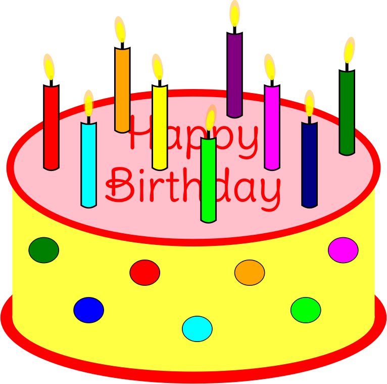 Image Of Birthday Cake With One Candle : Clipart - Flickering Candle Birthday Cake