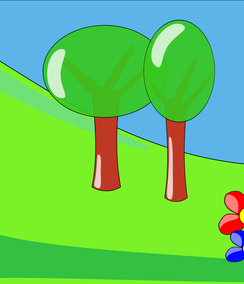 Clipart - Landscape near the river