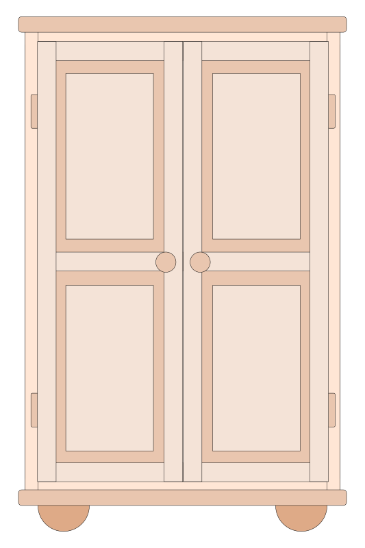 Cupboard by Stellaris - A front-side view of a brown cupboard