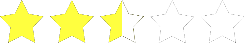 two and a half star rating by Anonymous - one of a set of images to create a star rating system from the old OCAL site