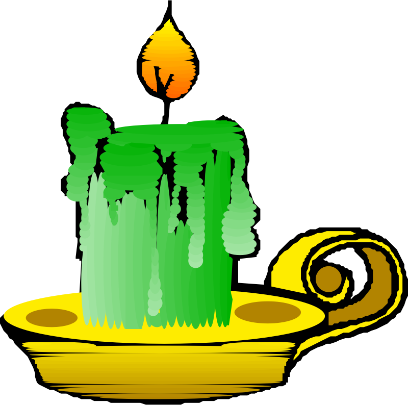 Green candle by liftarn - Thick green candle on a golden holder.