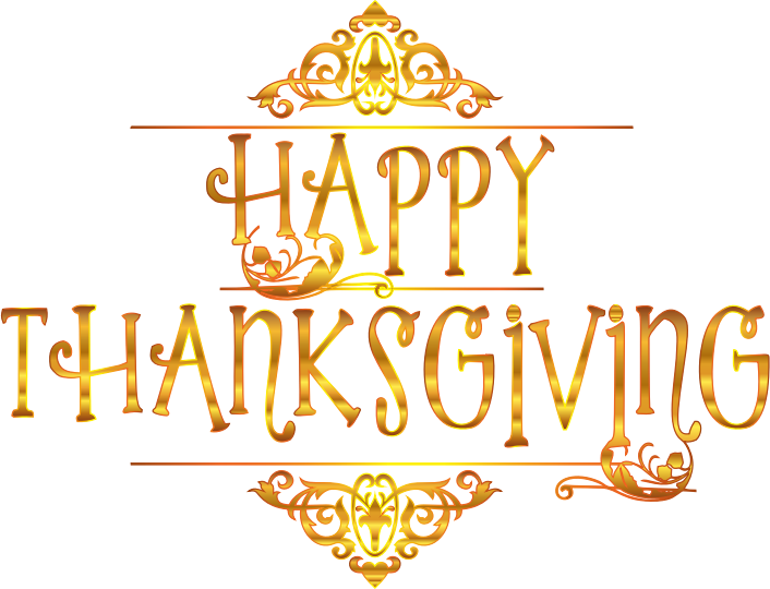Clipart - Gold Happy Thanksgiving Typography Variation 2 No Background