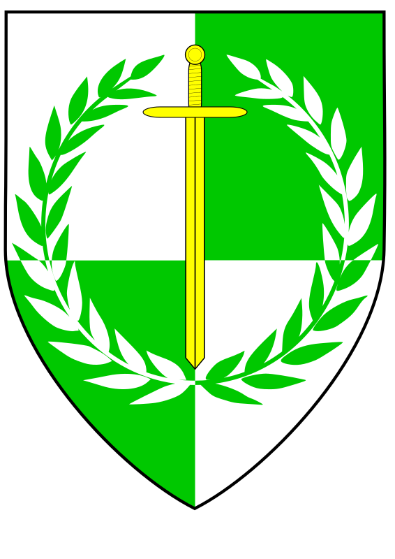 glaedenfeld device by rhysfaber - Blazon:  Quarterly argent and vert, a sword inverted Or within a laurel wreath counterchanged.