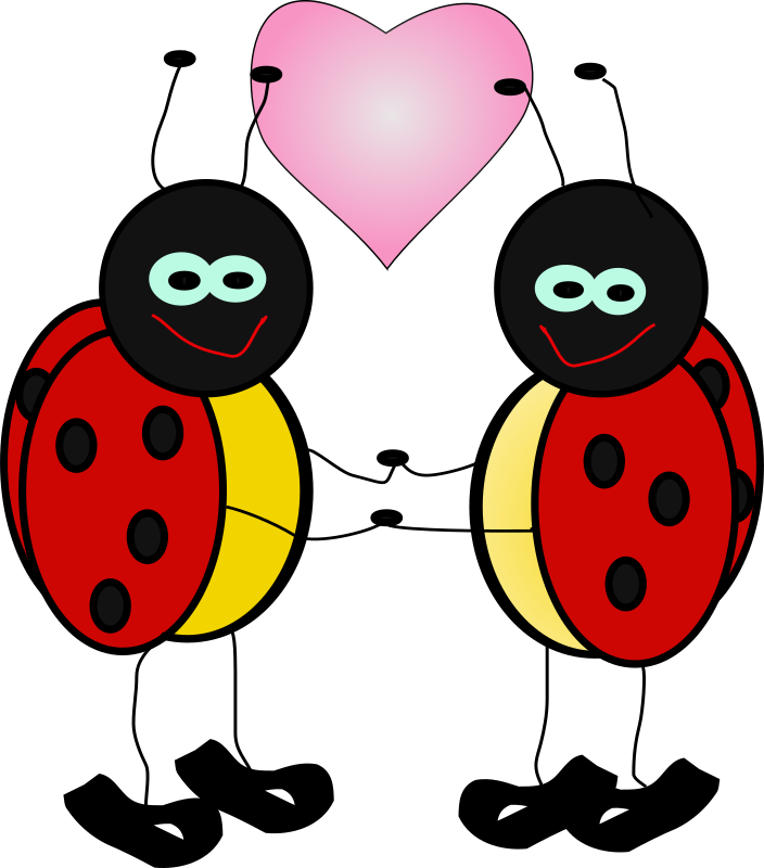 lady bugs by Machovka - Lady bugs holding hands with heart.
