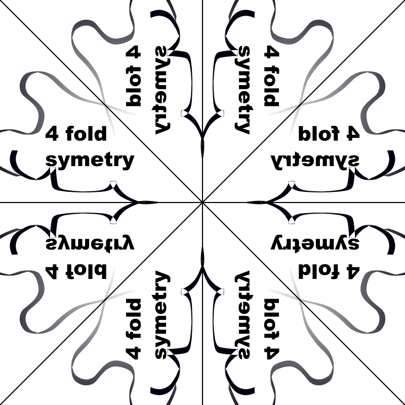 "4 fold symmetry by tom - another mirror image set-up, this time with 4 fold symmetry lines. to use, open in Inkscape and edit the ""EDIT LAYER""."