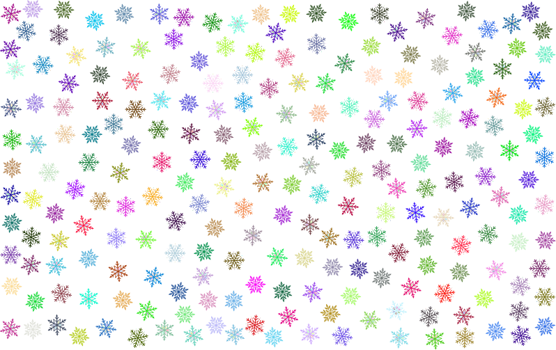 Clipart prismatic snowflakes pattern no background