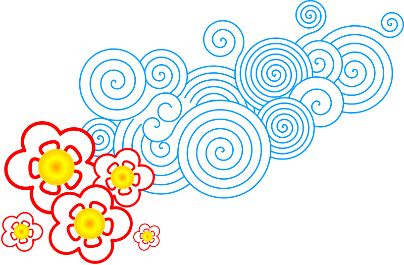 flor_nube by egonpin - Flowers with abstract blue swirls symbolizing wind.