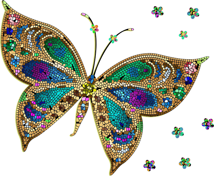 Clipart - Colorful Tiled Butterfly