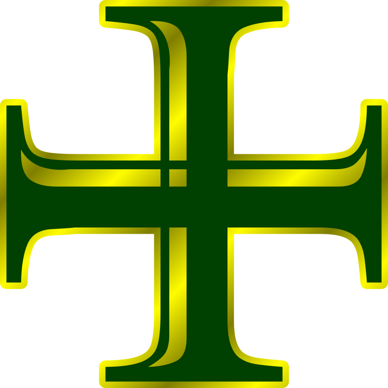 Clipart Green And Gold Cross